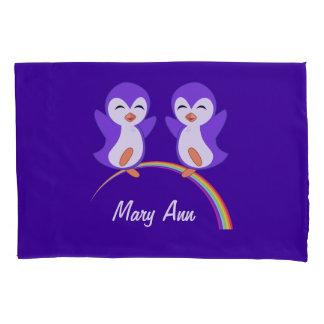 Cute Custom Purple Penguin Pillowcase