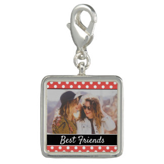 Cute Custom Red Polka Dot Photo Photo Charms