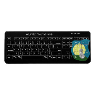 Cute Custom Scruffy Wolf w Moon Wireless Keyboard