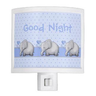 Cute Custom Text Polka Dots Elephant Nursery Good Night Lite