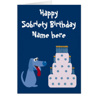 Cute Customizable Dog & Cake Sobriety Birthday Greeting Card