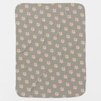 Cute customizable dog swaddle blanket paw print