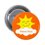 Cute Customizable Happy Sun Orange Name Tag 2 Inch Round Button