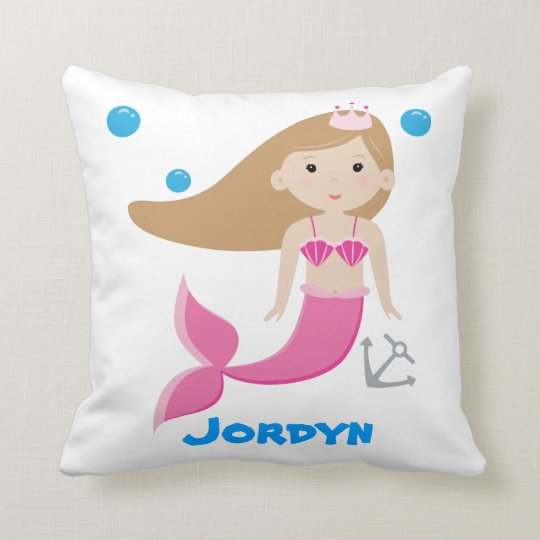 Cute Customizable Mermaid Pillow - Under The Sea