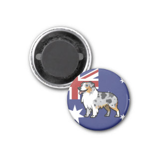 Cute Customizable Pet on Country Flag Magnet
