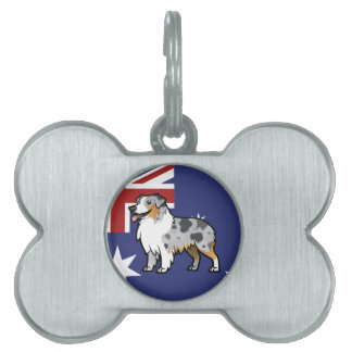 Cute Customizable Pet on Country Flag Pet ID Tag
