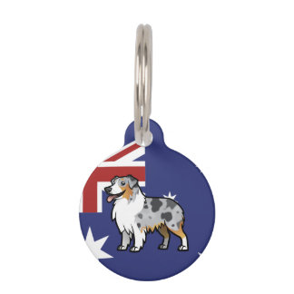 Cute Customizable Pet on Country Flag Pet Nametags