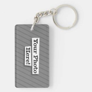 Cute Customizable Pet on Country Flag & Photo Double-Sided Rectangular Acrylic Keychain
