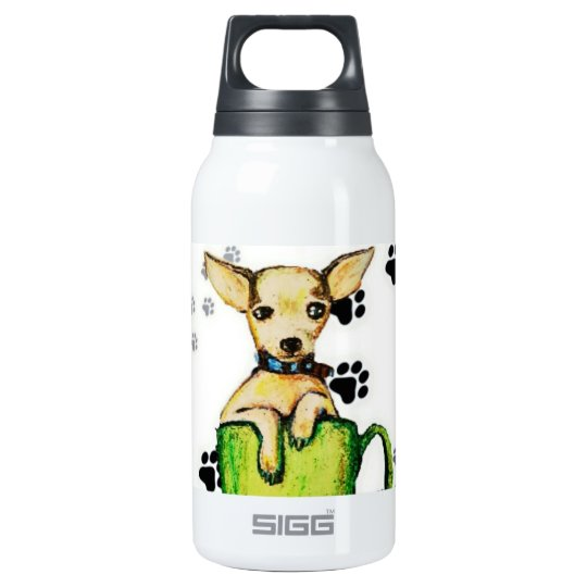 Cute Customizable Pup In Cup Thermal Cup Insulated Water Bottle