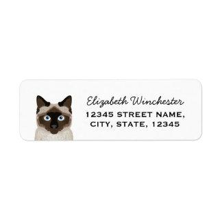 Cute customizable siamese cat return address label