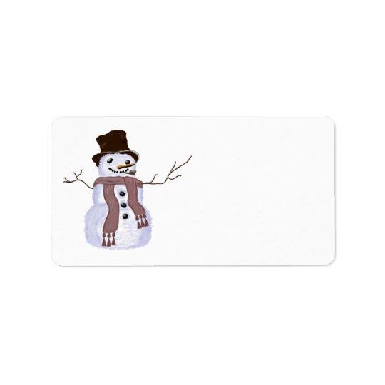Cute Customizable Winter Snowman Label