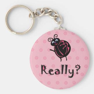 Cute Customize Pink Ladybug Keychain
