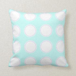 Cute Cyan Polka dot pattern pillow