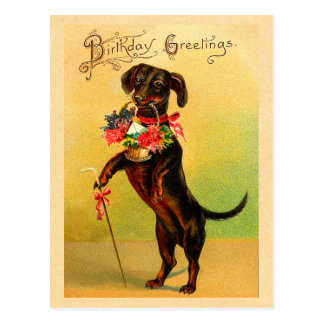 Cute Dachshund Birthday Postcard