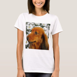 Cute Dachshund (Brown Long Haired) in Flowers T-Shirt
