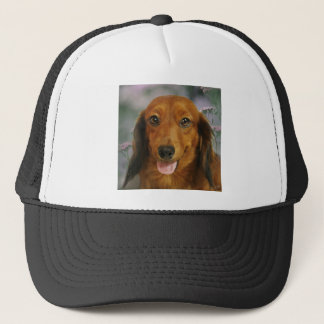 Cute Dachshund (Brown Long Haired) Wild Flowers Trucker Hat