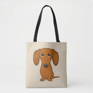 Cute Dachshund | Cartoon Wiener Dog Tote Bag