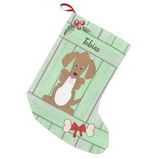 Cute Dachshund Dog Green Wooden Fence Monogram Small Christmas Stocking