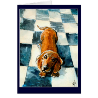 Cute Dachshund dog greeting or note card