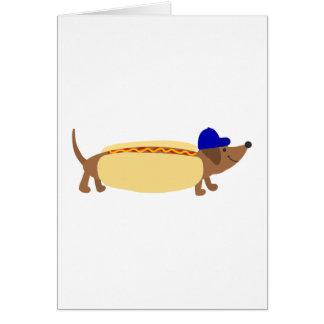 Cute Dachshund Dog in a Hotdog Bun Card