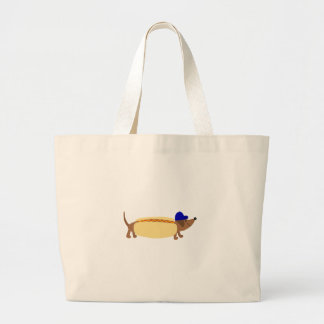 Cute Dachshund Dog in a Hotdog Bun Large Tote Bag