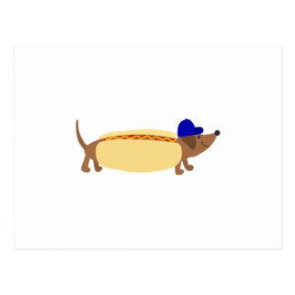 Cute Dachshund Dog in a Hotdog Bun Postcard