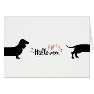 Cute dachshund Halloween Card