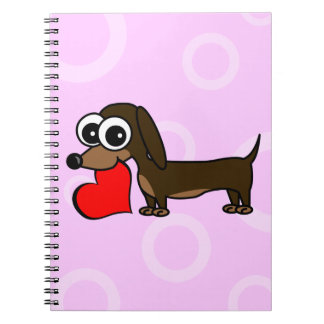 Cute Dachshund Has My Heart - Pink Circles Notebook