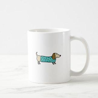 Cute dachshund in mint blue coffee mug