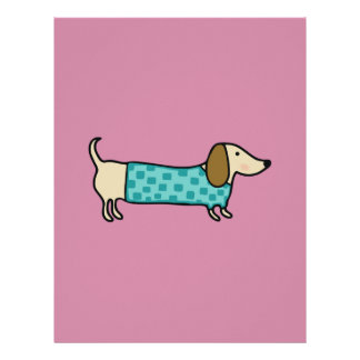 Cute dachshund in mint blue letterhead