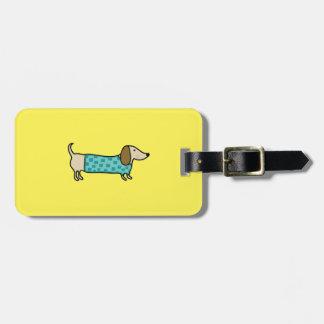 Cute dachshund in mint blue luggage tag