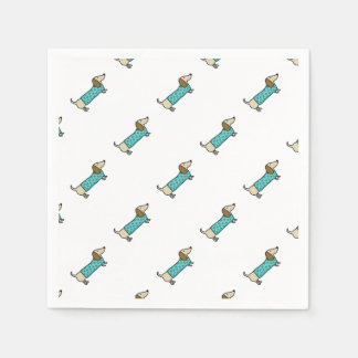 Cute dachshund in mint blue napkin