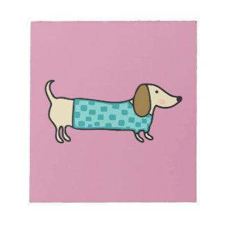 Cute dachshund in mint blue notepad