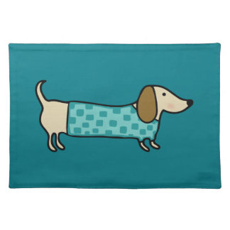 Cute dachshund in mint blue placemat