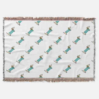 Cute dachshund in mint blue throw blanket