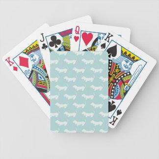 Cute Dachshund White Silhouettes on light blue Poker Deck