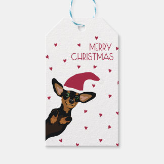 Cute Dachshund with Santa hat and heart background Gift Tags