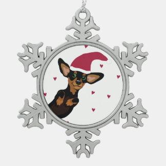 Cute Dachshund with santa hat snow flake ornament