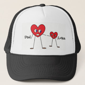 Cute Dad and Son Heart Stick Figures Personalized Trucker Hat