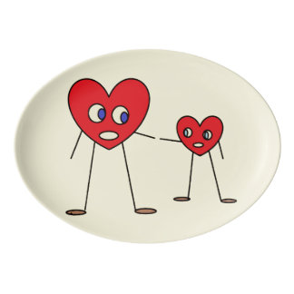 Cute Dad Son Heart Stick Figures Design Porcelain Serving Platter