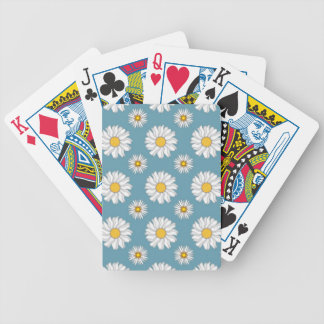 Cute Daisies and Flowers White and Blue Bicycle Playing Cards