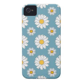 Cute Daisies and Flowers White and Blue iPhone 4 Cover