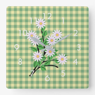 Cute Daisies on Green and Yellow Gingham Square Wall Clock