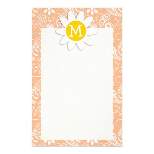 Cute Daisy; Apricot Color Paisley; Floral Stationery