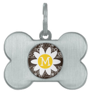 Cute Daisy on Bistre Brown Paisley Pet Name Tags