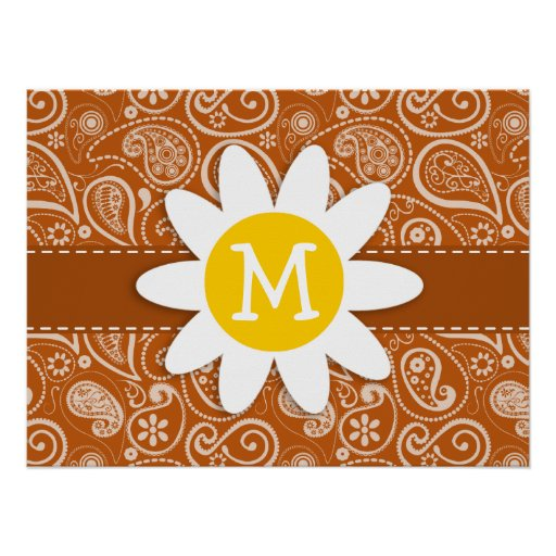 Cute Daisy on Burnt Orange Paisley; Floral Poster