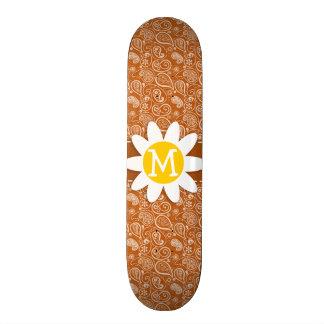 Cute Daisy on Burnt Orange Paisley; Floral Skate Decks