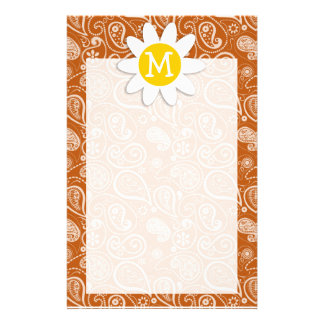Cute Daisy on Burnt Orange Paisley; Floral Personalized Stationery
