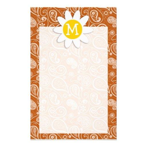 Cute Daisy on Burnt Orange Paisley; Floral Custom Stationery