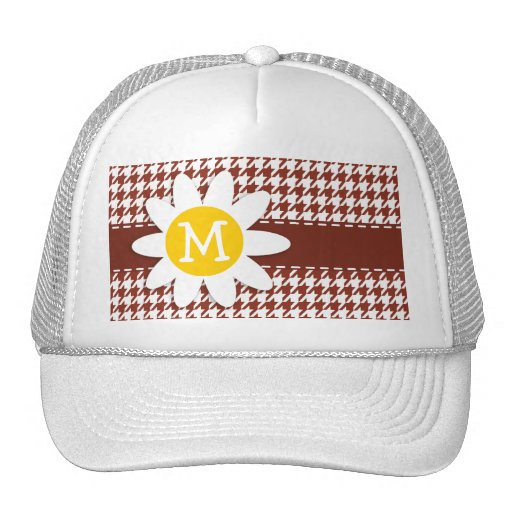 Cute Daisy on Burnt Umber Houndstooth Mesh Hat